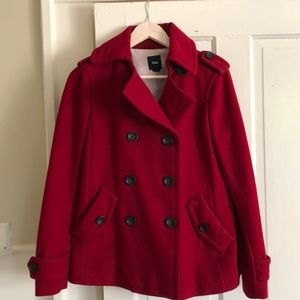 Gap Wool Pea Coat Red Sz M